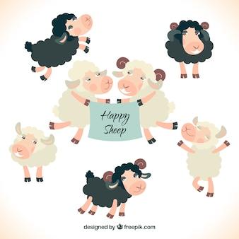 Carneiros felizes ilustração