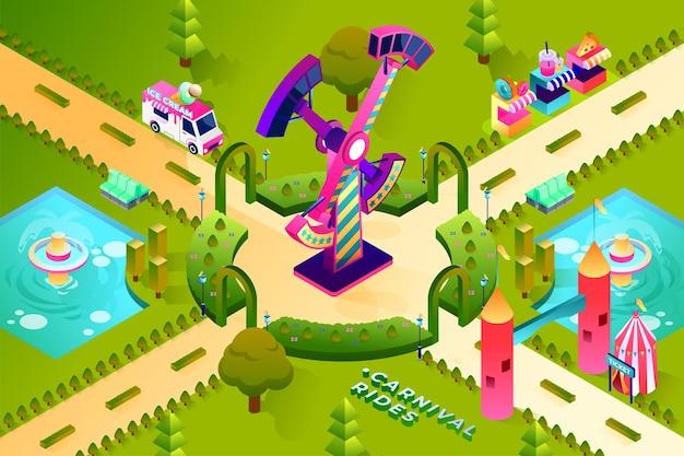 Carnival rides - isometric illustration