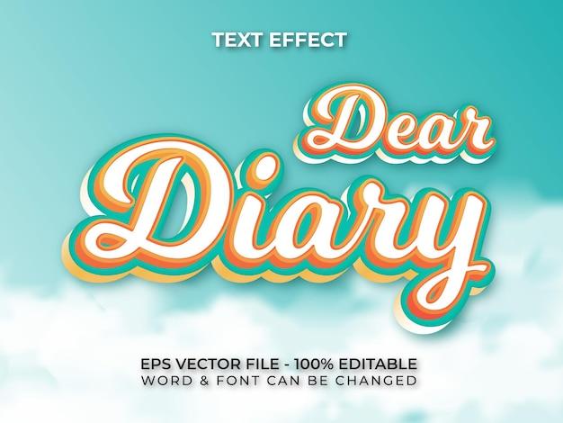 Caro diário, estilo de efeito de texto efeito de texto editável