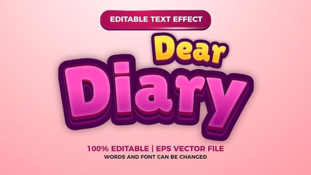 Caro efeito de texto editável do diário para o título de jogos de quadrinhos