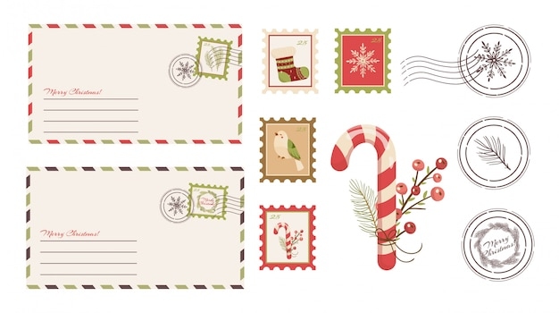 Caro papai noel carta. cartão postal com selos e marca.