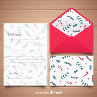 Caro papai noel carta de natal e envelope
