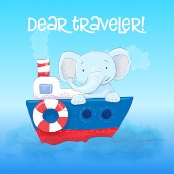 Caro viajante o elefante pequeno bonito flutua em um barco. estilo dos desenhos animados. vetor