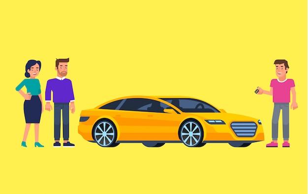 Caronas e compartilhamento de carros. pessoas felizes na frente do carro. viajar de carro. ilustração