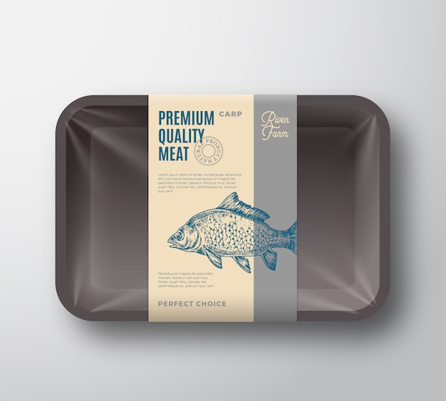 Carpa de qualidade premium. bandeja plástica dos peixes abstratos do vetor com etiqueta do projeto de empacotamento da tampa do celofane.
