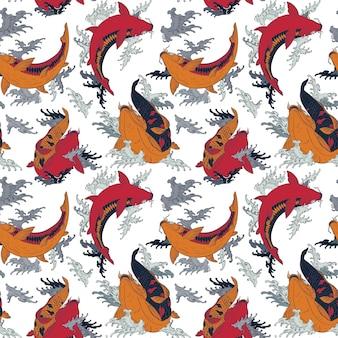 Carpas koi vermelho e laranja brilhante sem costura padrão