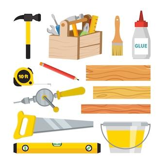 Carpintaria e conjunto de ferramentas de carpintaria