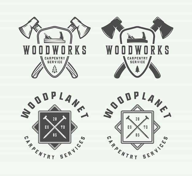 Carpintaria, emblemas de madeira, emblemas