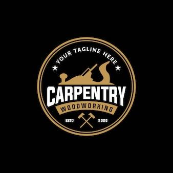 Carpintaria, modelo de design de logotipo vintage para madeira