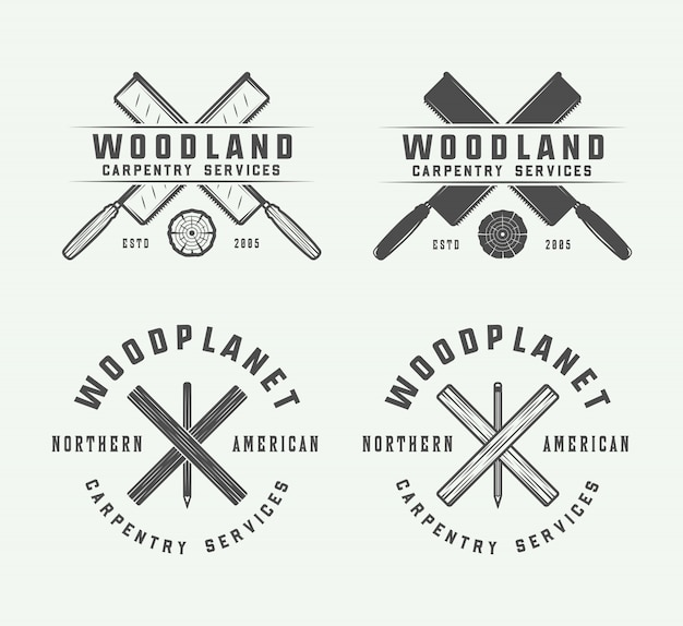 Carpintaria vintage, emblemas de madeira