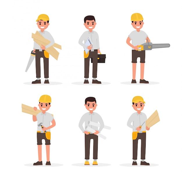 Carpinteiro, capataz, engenheiro, marceneiro, woodworker, elementos