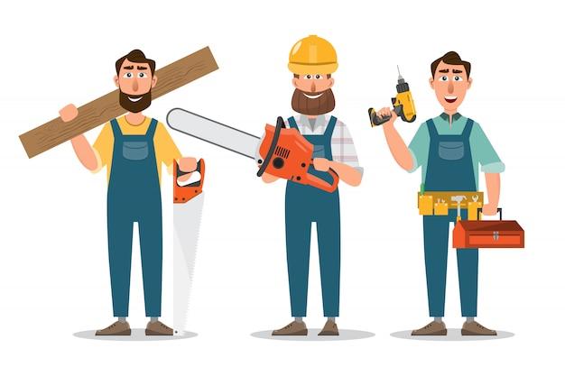 Carpinteiro com serra e ferramentas.