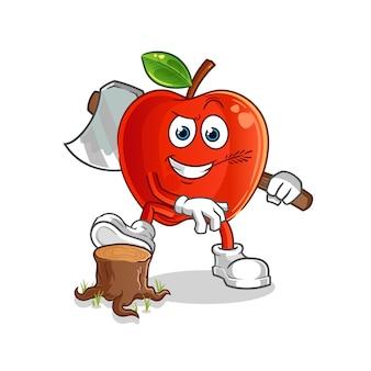Carpinteiro de maçã vermelha. personagem