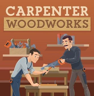Carpinteiro e marceneiro trabalhadores, personagens