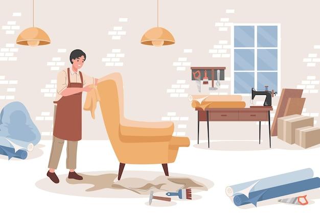 Carpinteiro em oficina de móveis fazendo poltrona confortável