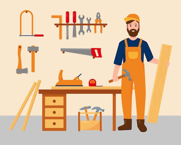 Carpinteiro em seu local de trabalho com ferramentas de trabalho