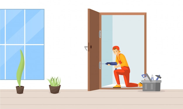 Carpinteiro fixação porta ilustração plana. reparador profissional, montagem de personagem de desenho animado da dobradiça de porta. jovem trabalhador, artesão qualificado usando furadeira elétrica para instalação de batente de porta