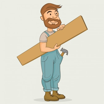 Carpinteiro segurando a prancha de madeira