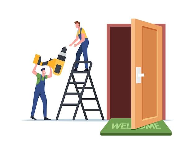 Carpinteiros e reparadores ficam na escada com portas de reparação de ferramenta de perfuração. personagens masculinos mestres consertam ou montam uma nova porta de um apartamento, serviço de construção. ilustração em vetor desenho animado