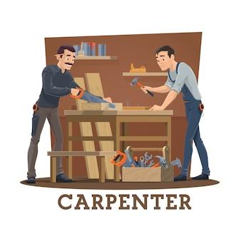 Carpinteiros na oficina com ferramentas de carpintaria