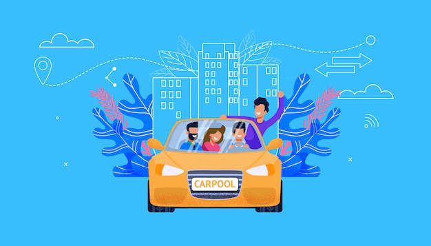 Carpool service flat vector. carro com jovens: homem e mulher companheiro personagem no carro amarelo se divertir no passeio. tecnologia de viagem carsharing. cooperação de veículos para aventura.