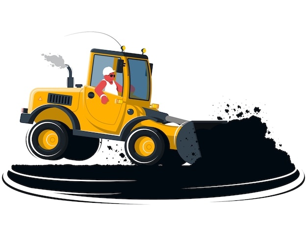 Carregadeira de rodas de desenho animado com motorista em fundo preto