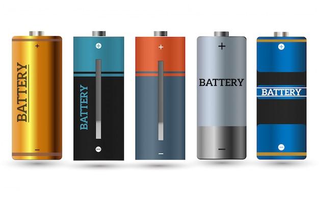 Carregador de bateria com pilhas fracas do dedo e indicadores, isolados altos.