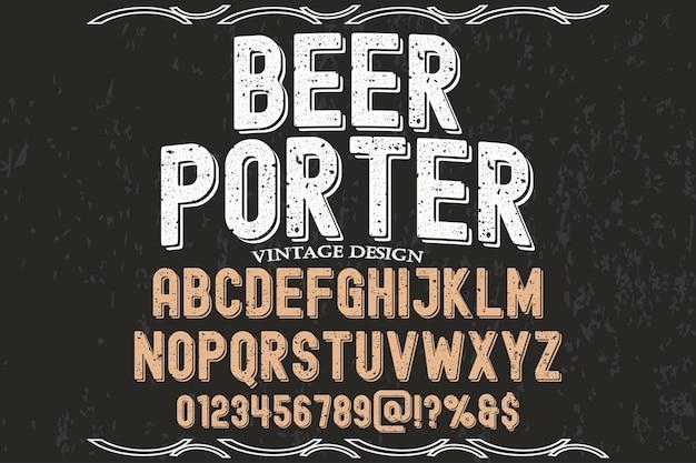 Carregador de cerveja de design de rótulo de tipografia