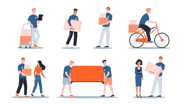 Carregador em uniforme carregando coisas definidas. caixa de exploração do entregador. conceito de serviço de transporte. ilustração