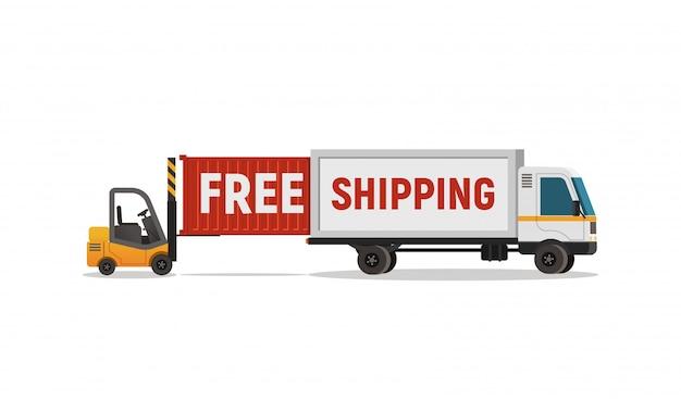 Carregador isolado dos desenhos animados descarrega o objeto de vetor de caminhão