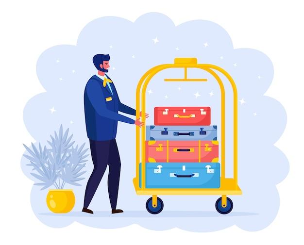 Carregador transportando bagagem e bolsas por carrinho, carrinho. garoto sorridente. pessoal do hotel
