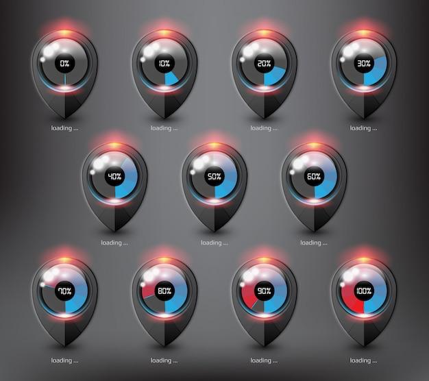 Carregadores giratórios ou barras de carregamento progressivas em diferentes estados e porcentagens de carregamento. isolado na superfície preta.