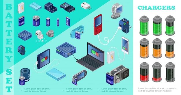 Carregadores isométricos para dispositivos modernos, equipados com plugues de banco de potência, laptop, player de áudio, câmera móvel, carregadores portáteis, baterias com indicadores de carga diferentes