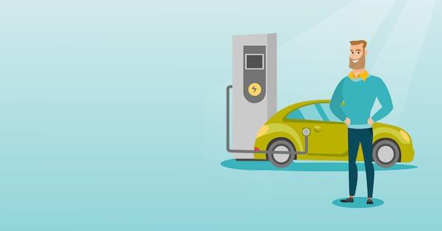 Carregamento da ilustração do vetor do carro elétrico.