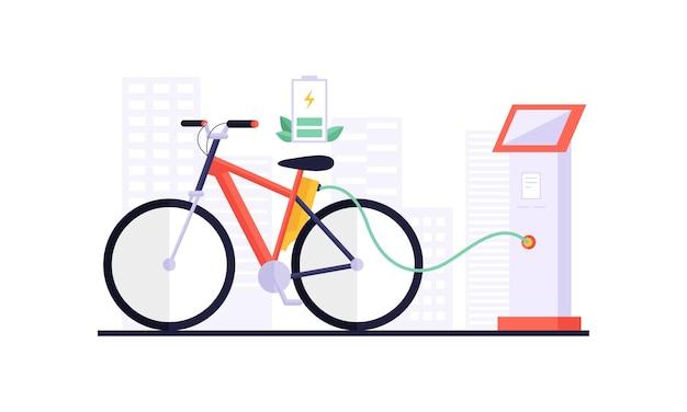 Carregamento de bicicleta elétrica e touchpad exibindo informações de carregamento