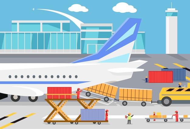 Carregamento de contêineres em um avião de carga