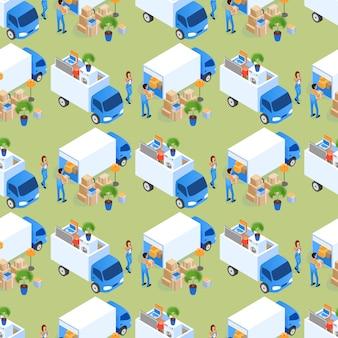 Carregamento de móveis no padrão de caminhão