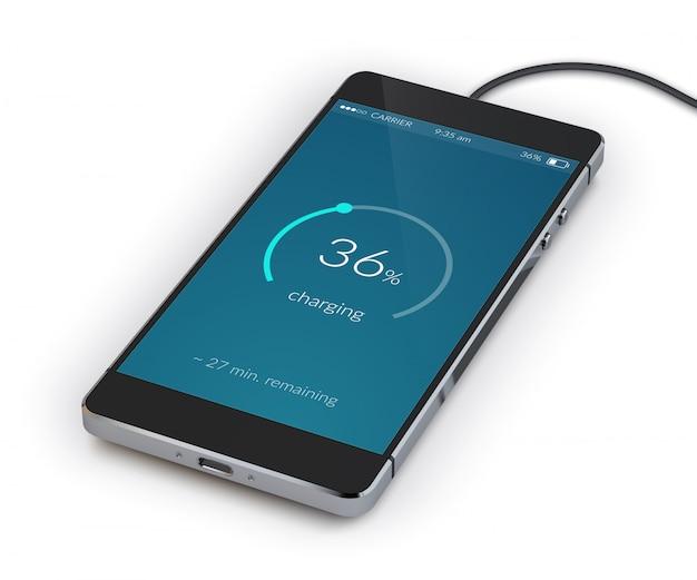 Carregamento de smartphone realista