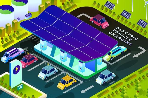 Carregamento de veículos elétricos - ilustração isométrica