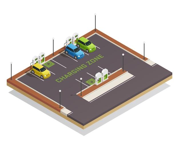 Carregamento de veículos elétricos isométricos de ecologia