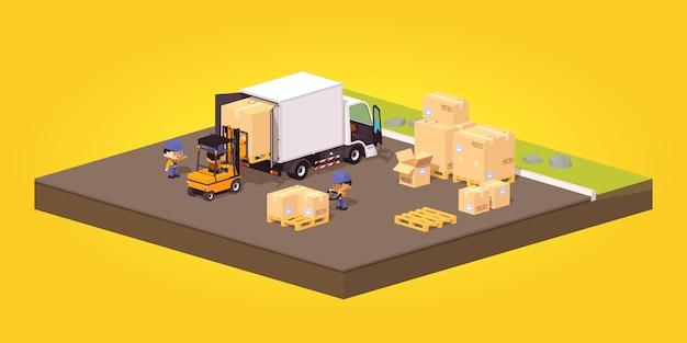 Carregamento ou descarregamento das caixas de papelão