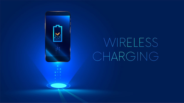 Carregamento sem fio da bateria do smartphone. conceito futuro.