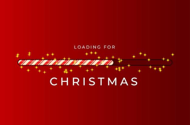 Carregando barra de bengala para o natal com brilhos