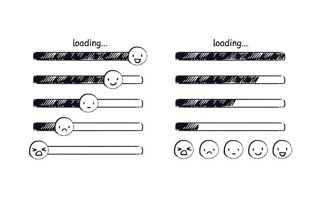 Carregando barra de emoji doodle indicador de humor emoticons desenhados à mão variando de triste a feliz