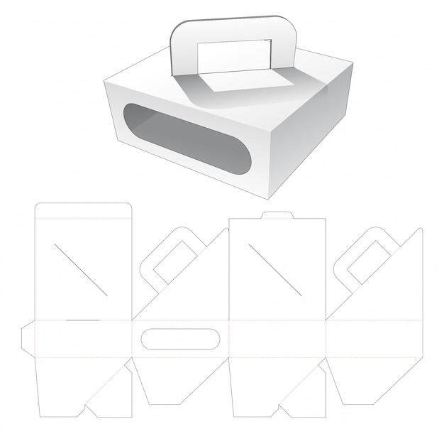Carregando caixa de papelão com janela cortada modelo