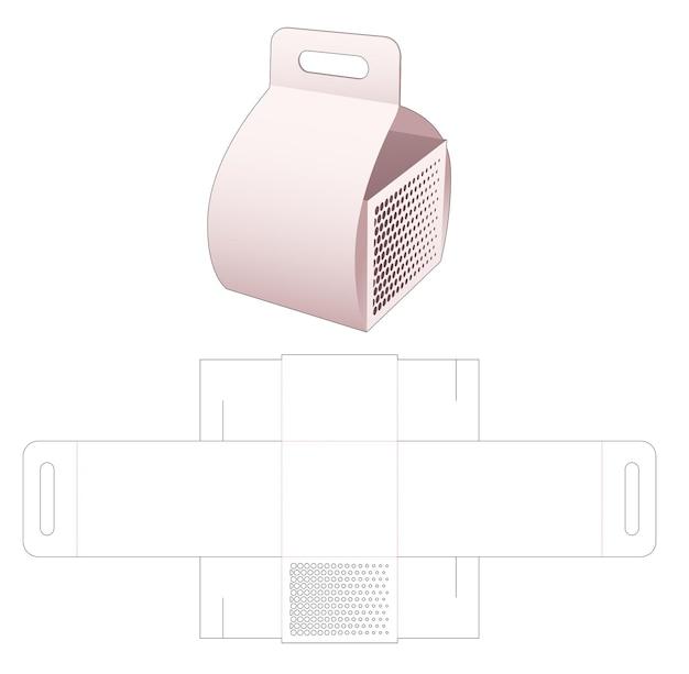 Carregando caixa de papelão com molde de pontos de meio-tom estampados