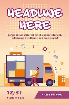 Carregando caixa de transporte de trabalhador em modelo de folheto de caminhão