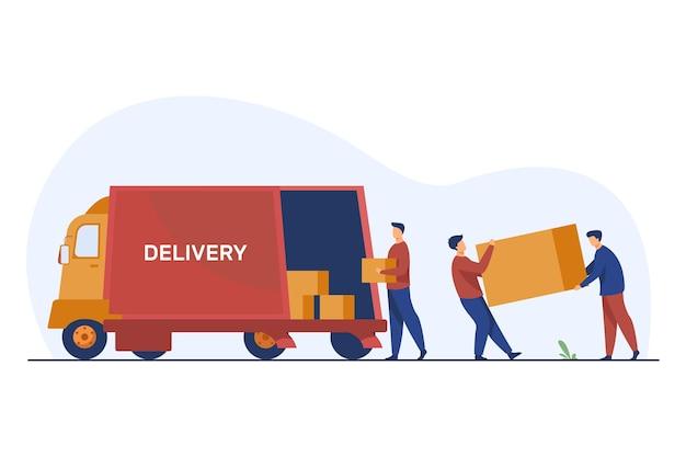 Carregando caixas de transporte de operário