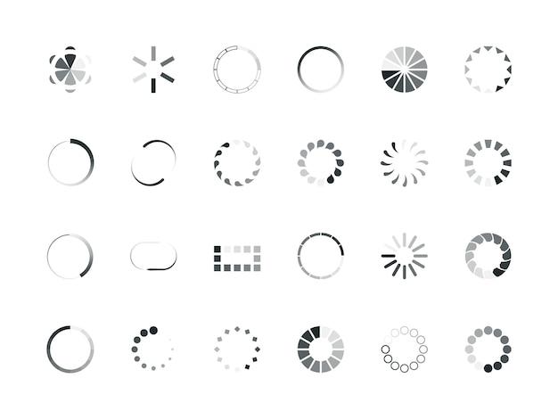 Carregando círculos. objetos de design de interface do usuário, processo de armazenamento em buffer, upload de elementos de porcentagem, barra de progresso, web internet.