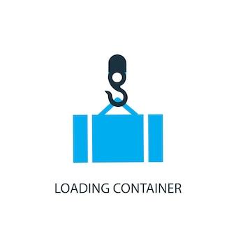 Carregando ícone do contêiner. ilustração do elemento do logotipo. carregando o design do símbolo do recipiente de 2 coleções coloridas. conceito de contêiner de carregamento simples. pode ser usado na web e no celular.